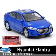 威利WELLY 現代Hyundai Elantra授權合金汽車模型1:36回力開門男孩兒童合金玩具車裝飾收藏礼物擺件