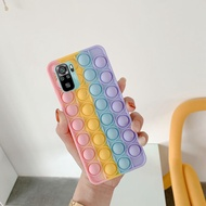 Phone Cases for Xiaomi Redmi Note 10 Soft Silicone Phone Case with Funny Rainbow Capa Push It Relieve Stress Pop Fidget Toys Bubble Casing Cover hp