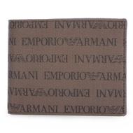 EMPORIO ARMANI 經典排列LOGO帆布短夾-深咖色