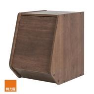【特力屋】日本 IRIS 木質可掀門堆疊櫃 W30xH40cm 深木色