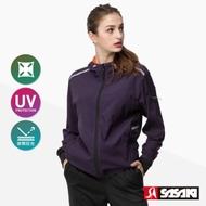 SASAKI 抗紫外線高彈力夜間反光功能連帽輕量夾克-女-墨紫/艷桔-防疫居家運動首選