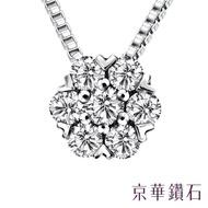 【京華鑽石】鑽石項鍊墜飾『小白花』18K白金