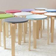 椅子家用椅子北歐風格圓凳可疊放餐凳實木彩色小圓凳實木凳圓板凳化妝凳DF  免運
