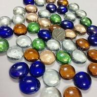 【200個】扁珠玻璃金魚水族魚缸造景石頭彩色七彩玻璃