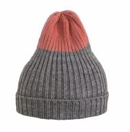 =EYe選物=俄羅斯設計師 灰x粉橘 雙色 針織 反摺毛帽