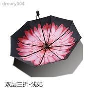 【現貨速發】₪Banana小黑傘防曬紫外線黑膠太陽傘三折疊女遮陽傘雙層晴雨傘UPF5