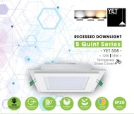 [SIRIM APPROVED] YET 558 18W 6 INCH LED DOWNLIGHT SQUARE/GLASS (DAYLIGHT / COOL WHITE / WARM WHITE / 3 COLOURS)