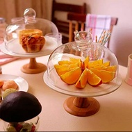 Bamboo Wood Cake Display Stand With Glass Cloche Cover