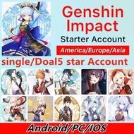 HOT Selling Genshin Impact Account 5 Star Venti Klee Xiao Tartaglia Zhongli Albedo GanYu HuTao Asia