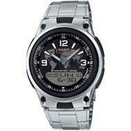CASIO 都會個性地圖紋雙顯腕錶-鋼帶/黑面(AW-80D-1A2)/40mm