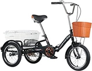 Adult Tricycle With Shopping Basket Foldable Tricycle 16inch Trike Bike Bicycle For Shopping Picnic Outdoor Sports Men Women