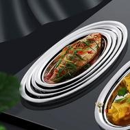 魚盤 新款304不銹鋼魚盤 家用魚盤子蒸魚盤菜盤創意橢圓形碟子加厚大號【全館免運 限時鉅惠】