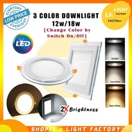 3 COLOUR LED Downlight Glass Recess Downlight LED 4'' 12W / 6'' 18W Round/Square 3 COLOUR CHANGING 7Uyj&-&&