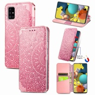 Blooming Embossed Leather Case Samsung A51 Flip Cover Case