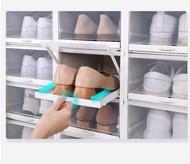 Ivso 3 ชิ้นใหม่ดึงกล่องรองเท้าใสตู้รองเท้าตกแต่งกล่องพลาสติกซ้อนพลิกลิ้นชักประเภทกล่องเก็บรองเท้า