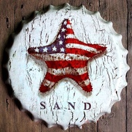 Tin Sign Bottle Cap USA SAND Bar Pub Home Vintage Retro Poster Cafe ART