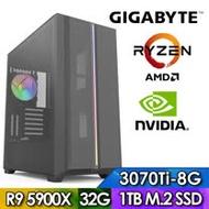 技嘉X570平台【殺戮鐵衛】R9十二核獨顯電玩機(R9-5900X/32G/1TB_SSD/RTX3070TI-8G)