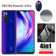 (4 in 1) Suitable for TECNO Camon 16 pro TECNO Pouvoir 4 Pro TECNO Spark 6 GO tempered glass full cover glass film + camera lens protective film + four corners fall prevention transparent mobile phone case + carbon fiber back film suitable for TECNO Camon