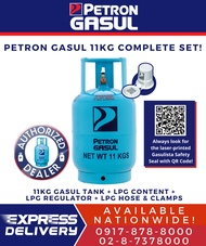 Petron Gasul 11kg Cylinder w LPG Content COMPLETE SET for your Stove! (with LPG Snap On or POL Regulator and LPG Hose) De roskas or de salpak (READY FOR YOUR STOVE!)
