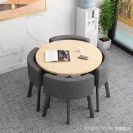 可收納省空間折疊餐桌家用小戶型飯桌商店面洽談桌椅組合接待圓桌