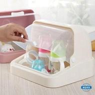 瀝水架彩帶蓋奶瓶瀝水架塑料 兒童餐具杯子收納箱防塵翻蓋碗碟收納盒 尾牙年會禮物