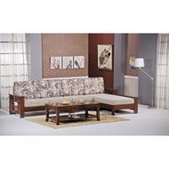【簡單家具】,H270-7 魯尼深柚木色L型木沙發(不含大茶几),大台北都會區免運費,組裝定位到好!