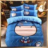 超萌卡通 鬥牛士 親膚棉 床包组 4件套 【被套+床包+枕套一對】 單人 雙人 加大雙人 特大雙人 可訂做/鬆緊床包