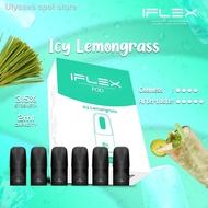 ❉☒⊕[PACK OF 6] IFLEX Flavor Pod 2ML/ E-Cigarettes Vape Juice E-Liquid Cartridge Close Pod System---iCY LEMONGRASS