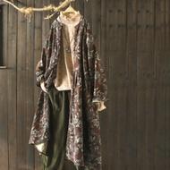 棉麻風琴褶印花襯衫裙寬鬆長版洋裝-設計所在