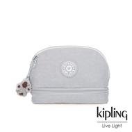 Kipling 知性淺灰撞色貝殼化妝包-MULTI MAKE-UP