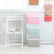 馬卡龍色系收納箱/上掀式置物櫃/玩具整理櫃/衣物收納/垃圾桶 (三入一組) (三色 粉/綠/灰)【MAMAGO】