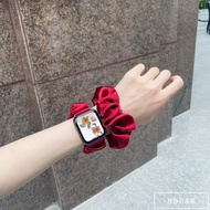 เหมาะสำหรับสายนาฬิกาApple Iwatch654321รุ่นสายลำไส้ใหญ่Applewatchยางรัดผมซาตินรู้สึก