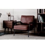 日系 北歐復古 經典溫潤木製扶手 單人皮沙發 復古棕色【免運 現貨】HFT-0054/沙發/椅子/工業風