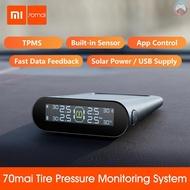 Ê Xiaomi 70mai TPMS Tire Pressure Monitor Tpms Solar Power Usb Android USB Tmps 70 Mai Car Sensors System Alarm