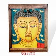 泰國實木復古化妝鏡 佛像彩繪臺式鏡子 梳妝臺美容鏡壁掛裝飾鏡子1入