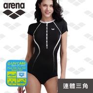 【arena】限量 春夏新款 運動休閒款 浪潮系列女士連體三角泳衣修身顯瘦速乾泳裝(CLS9122W)