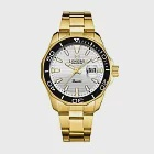LONGBO龍波 80512時尚簡約多邊造型男士鋼帶手錶- 金白