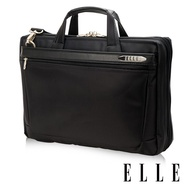 ELLE HOMME 尼龍╳皮革14吋筆電收納兩用公事包-黑 EL74165A