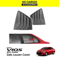HC CARGO Toyota Vios 2019-2021 Black Rear Side Louver Cover Window Triangle Mirror Cover Protector (MATTE Black Painted
