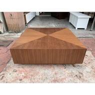 香榭二手家具*歐風胡桃木 3.5尺雙抽方形大茶几-茶几桌-矮桌-泡茶桌-和室桌-沙發桌-客廳桌-餐桌-雙邊桌-台中2手貨