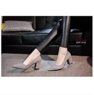 รองเท้าคัชชูผู้หญิง ส้นสูง 2 นิ้ว ทรงทางการ สไตล์สาวเกาหลี No.F077  ( มี 3 สี แดง / เทา /ดำ )