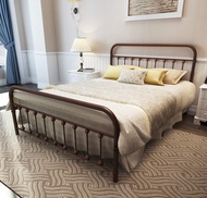 TEMMER Metal Bed Frame Queen Size with Headboard and Footboard Single Platform Mattress Base,Metal Tube and Antique Brown Baking Paint Iron-Art Bed (Queen, Antique Brown)