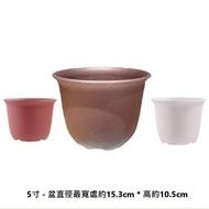 矮淺素陶盆 5寸 - 共三種顏色