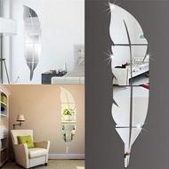 Wall Sticker Background Diy Decor Feather Mirror Modern Room Wallpaper