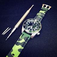 SEIKO 20mm 綠迷彩 矽膠 錶帶 SPB103 srp777 sbbn031 sbbn035 sne497
