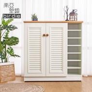 【南亞塑鋼】3.3尺二門右開放塑鋼百葉鞋櫃(原木色+白色)