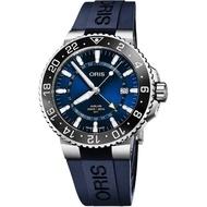 【ORIS 豪利時】水鬼 AQUIS GMT雙時區日期錶-藍/43.5mm(0179877544135-0742465EB)
