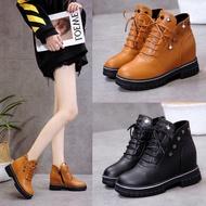 2020新款馬丁靴女內增高裸靴百搭棉鞋坡跟春秋半筒單靴厚底短靴子