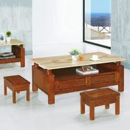 20 歡樂購-777型柚木色實木4.5尺石面大茶几-含腳椅 KH352-9