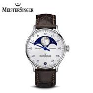 【MeisterSinger 明斯特單指針】LS901 月相 蛋白石銀 自動上鍊 40mm(月相錶 機械錶 德國錶)